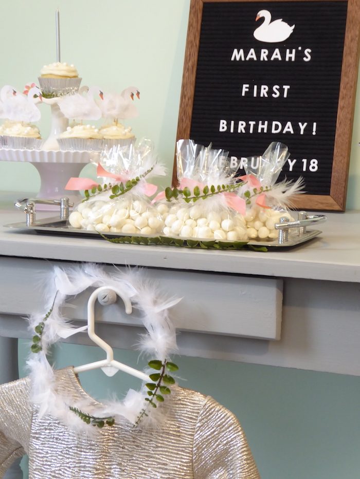Swan Crown + Favors from a from a Spring Swan Birthday Party via Kara's Party Ideas | KarasPartyIdeas.com