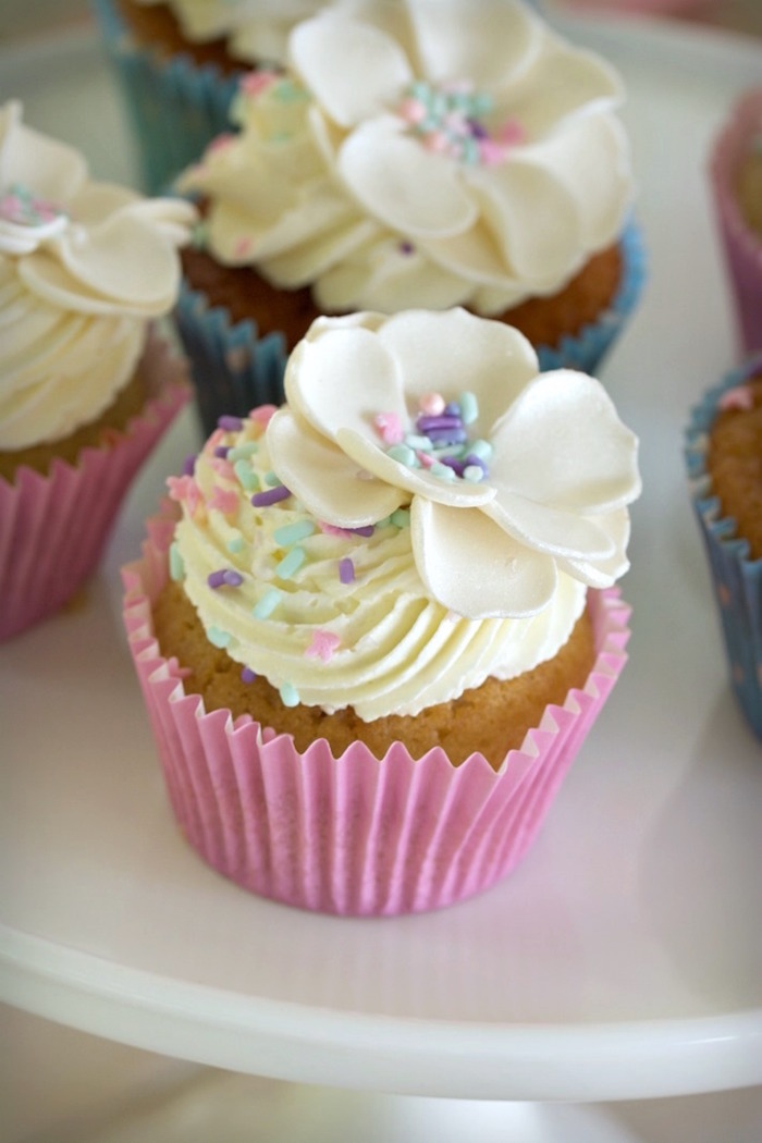 Flower Cupcake from an Easter Dessert Table on Kara's Party Ideas | KarasPartyIdeas.com (5)
