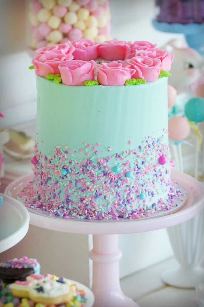 Spring Rose Cake from an Easter Dessert Table on Kara's Party Ideas | KarasPartyIdeas.com (22)