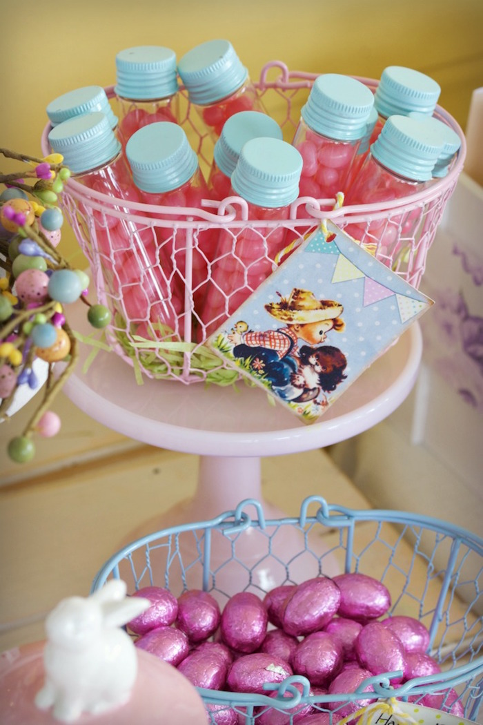Wire Basket of Favors from an Easter Dessert Table on Kara's Party Ideas | KarasPartyIdeas.com (3)