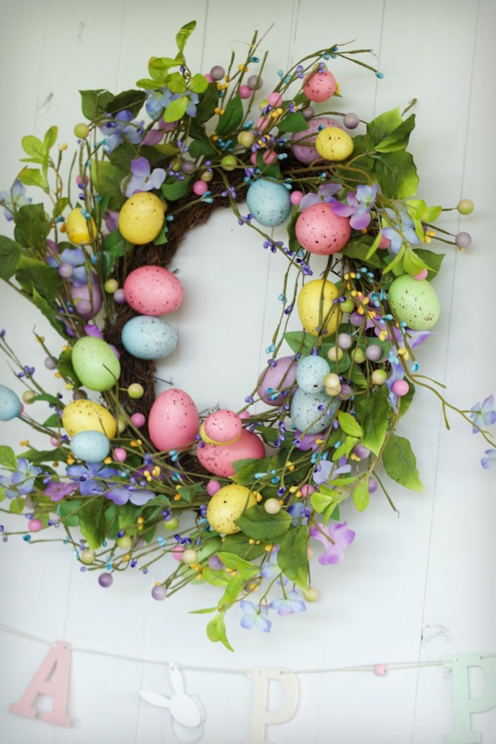 Easter Egg Wreath from an Easter Dessert Table on Kara's Party Ideas | KarasPartyIdeas.com (16)