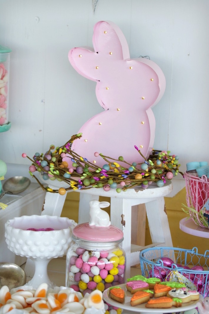 Bunny Wreath Centerpiece from an Easter Dessert Table on Kara's Party Ideas | KarasPartyIdeas.com (14)