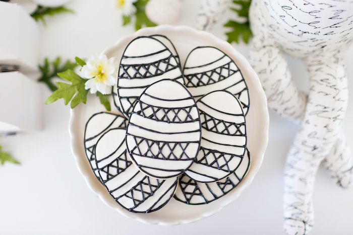 Black & White Easter Egg Cookies from a from a Monochromatic Easter Party via Kara's Party Ideas | KarasPartyIdeas.com