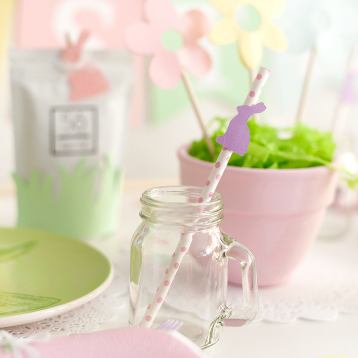 Mason Jar Cup with Bunny Straw from an Easter Inspired Spring Playdate Party on Kara's Party Ideas | KarasPartyIdeas.com (21)