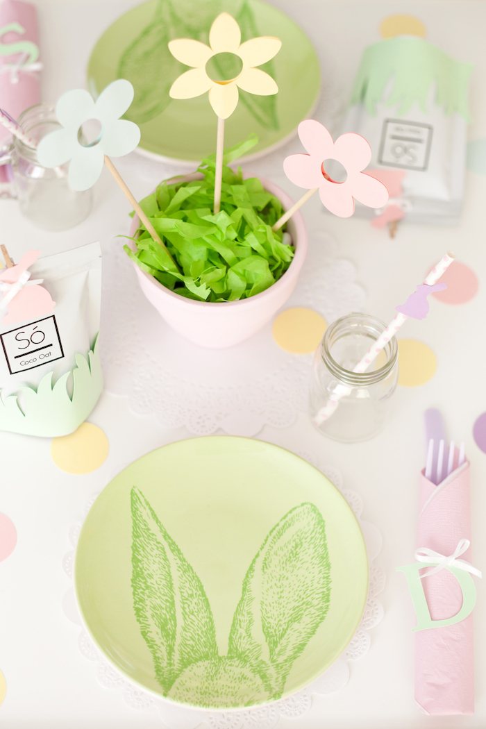 Bunny Plated Table Setting from an Easter Inspired Spring Playdate Party on Kara's Party Ideas | KarasPartyIdeas.com (20)
