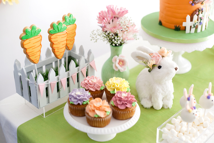 Carrot Cookie Pops & Flower Cupcakes from an Easter Inspired Spring Playdate Party on Kara's Party Ideas | KarasPartyIdeas.com (19)