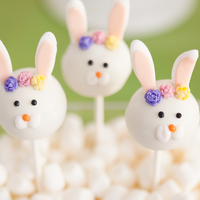 Bunny Cake Pops from an Easter Inspired Spring Playdate Party on Kara's Party Ideas | KarasPartyIdeas.com (16)