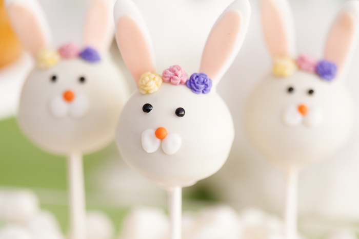 Bunny Cake Pops from an Easter Inspired Spring Playdate Party on Kara's Party Ideas | KarasPartyIdeas.com (15)