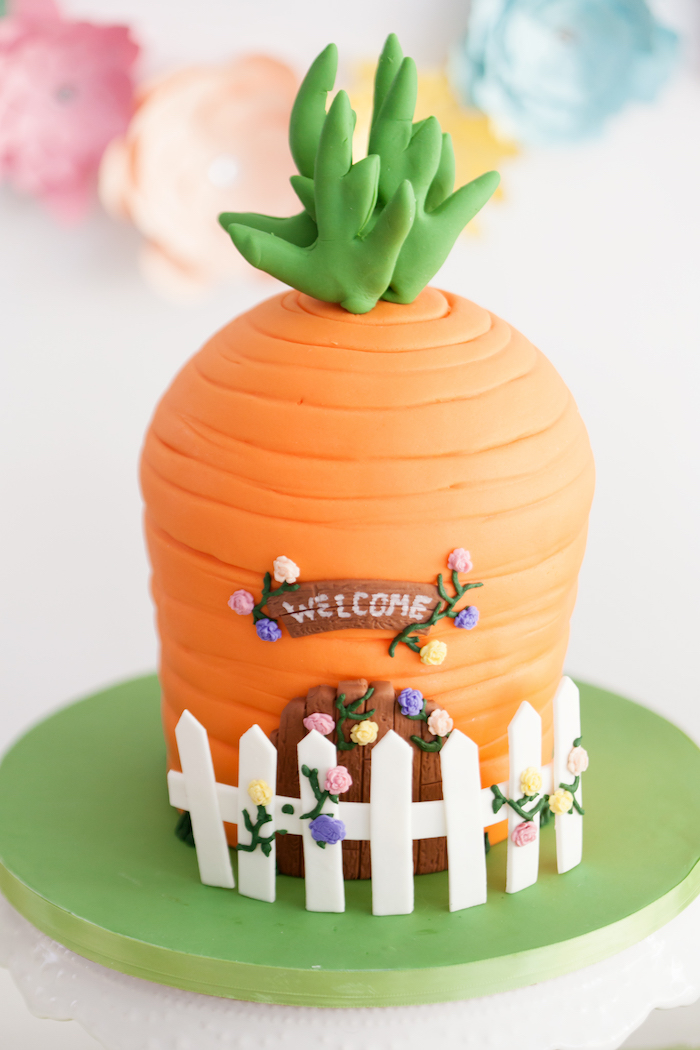 Carrot House Cake from an Easter Inspired Spring Playdate Party on Kara's Party Ideas | KarasPartyIdeas.com (14)