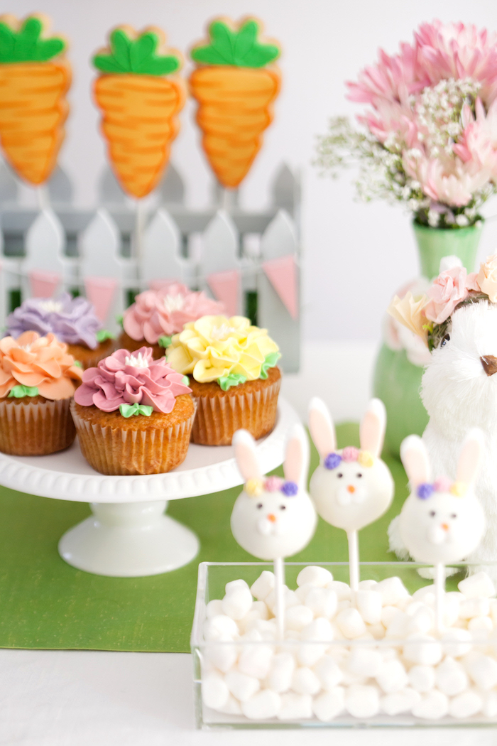 Flower Cupcakes from an Easter Inspired Spring Playdate Party on Kara's Party Ideas | KarasPartyIdeas.com (13)