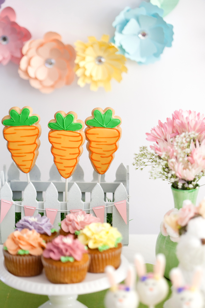 Carrot Cookie Pops from an Easter Inspired Spring Playdate Party on Kara's Party Ideas | KarasPartyIdeas.com (12)