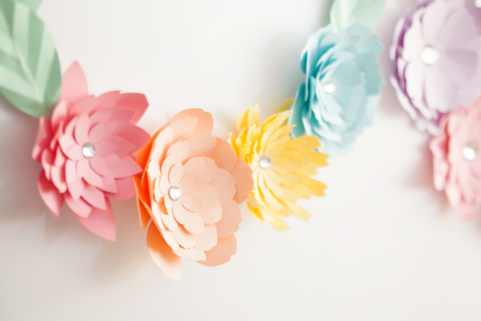 Floral Paper Wreath from an Easter Inspired Spring Playdate Party on Kara's Party Ideas | KarasPartyIdeas.com (11)