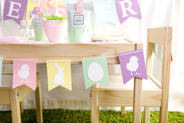Pastel Easter Banner from an Easter Inspired Spring Playdate Party on Kara's Party Ideas | KarasPartyIdeas.com (9)