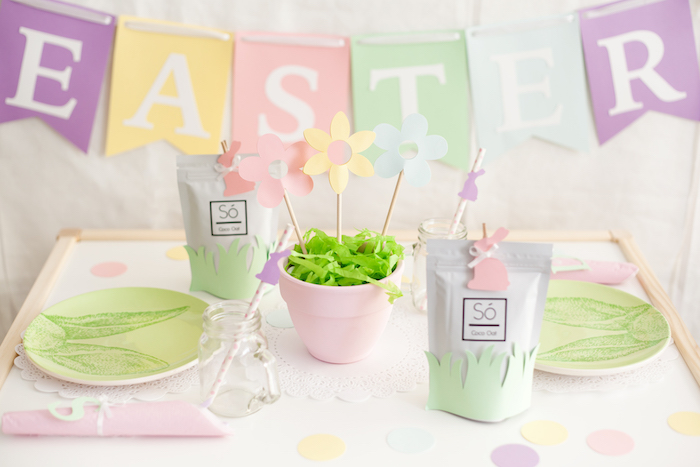 Easter Guest Table from an Easter Inspired Spring Playdate Party on Kara's Party Ideas | KarasPartyIdeas.com (25)