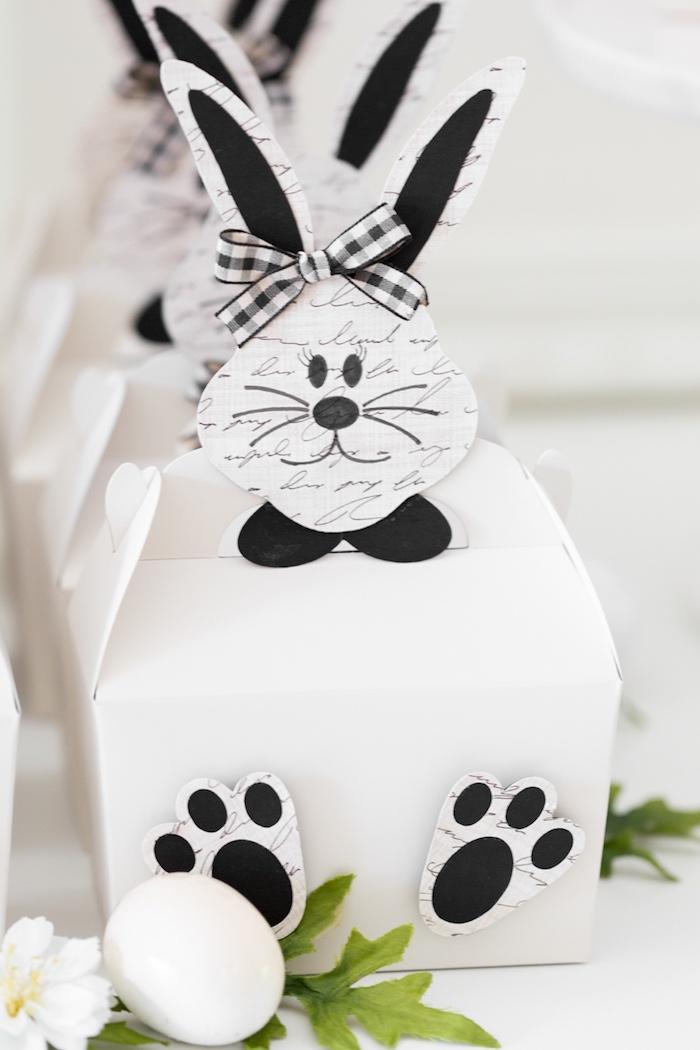 Bunny Gable Box Favors from a Monochromatic Easter Party via Kara's Party Ideas | KarasPartyIdeas.com