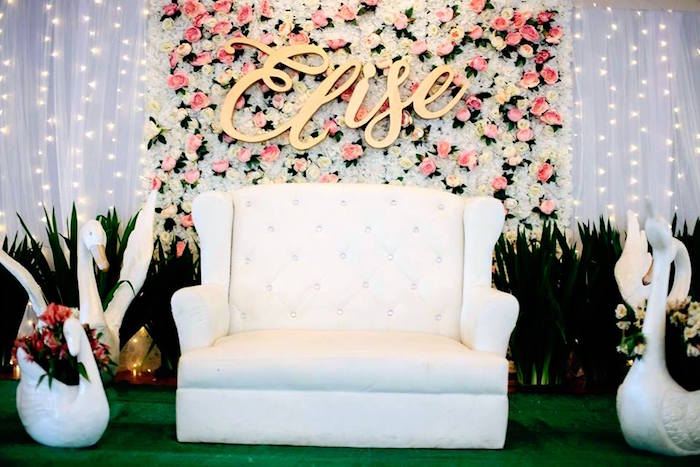 Floral Backdrop from an Elegant Swan Soiree on Kara's Party Ideas | KarasPartyIdeas.com (14)