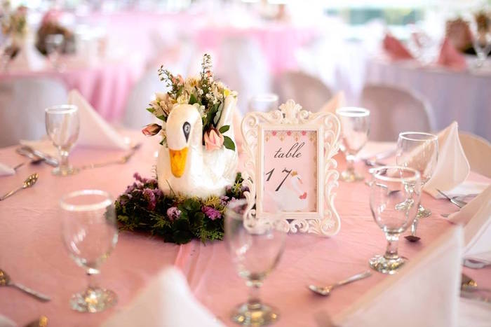 Swan Table Centerpiece from an Elegant Swan Soiree on Kara's Party Ideas | KarasPartyIdeas.com (13)