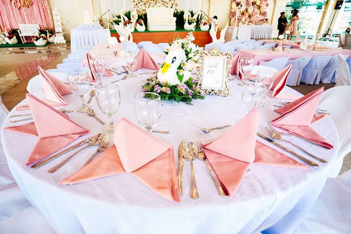 Swan-inspired Guest Table from an Elegant Swan Soiree on Kara's Party Ideas | KarasPartyIdeas.com (12)