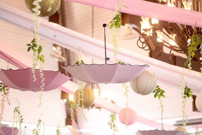 Umbrellas + Paper Lanterns + Greenery Ceiling from an Elegant Swan Soiree on Kara's Party Ideas | KarasPartyIdeas.com (8)