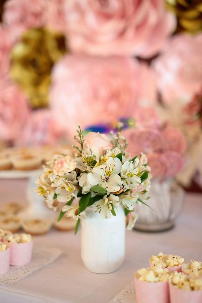 Floral Table Centerpiece from an Elegant Swan Soiree on Kara's Party Ideas | KarasPartyIdeas.com (5)