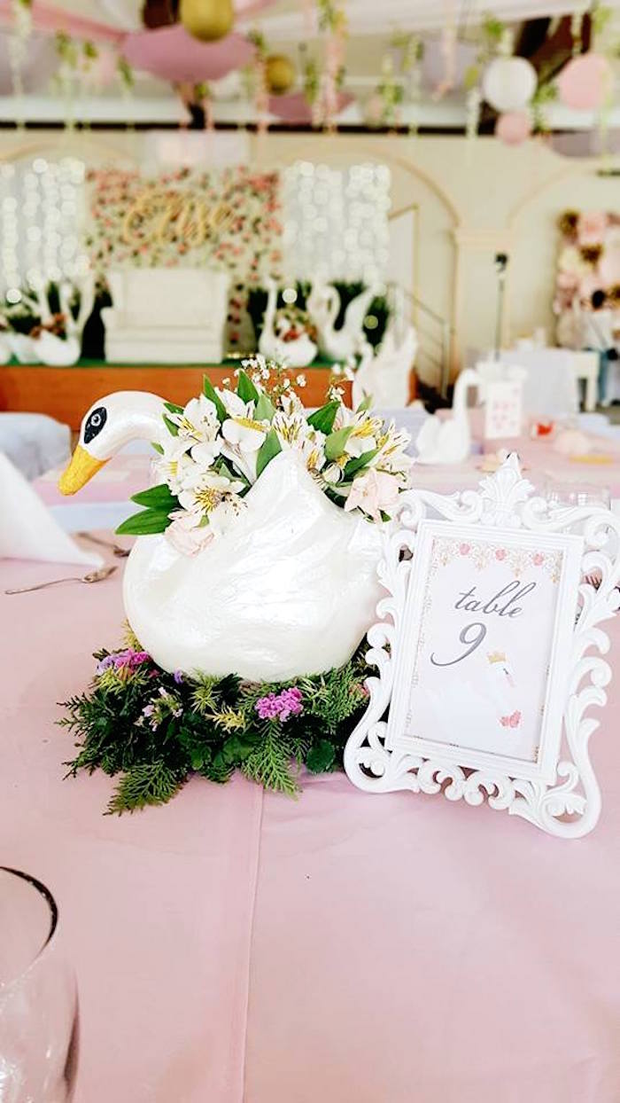 Swan Centerpiece from an Elegant Swan Soiree on Kara's Party Ideas | KarasPartyIdeas.com (20)