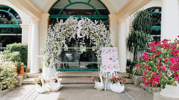 White Floral Arch Entrance from an Elegant Swan Soiree on Kara's Party Ideas | KarasPartyIdeas.com (19)