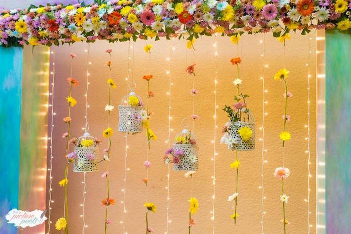 Floral Wall from an Enchanted Fairy Garden Party on Kara's Party Ideas | KarasPartyIdeas.com (10)