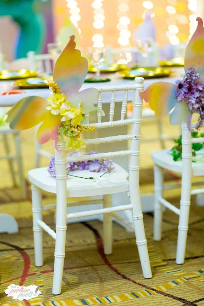 Winged Guest Chair from an Enchanted Fairy Garden Party on Kara's Party Ideas | KarasPartyIdeas.com (8)