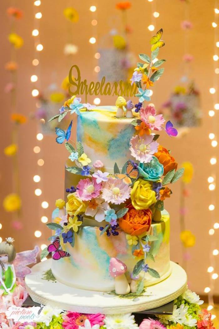 Floral Fairy Garden Cake from an Enchanted Fairy Garden Party on Kara's Party Ideas | KarasPartyIdeas.com (4)