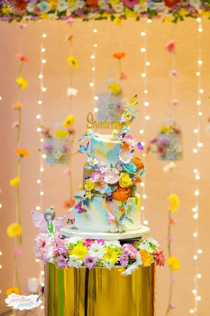 Floral Fairy Cake from an Enchanted Fairy Garden Party on Kara's Party Ideas | KarasPartyIdeas.com (3)