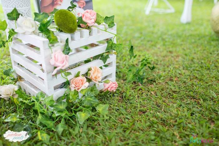 Rose-covered Garden Crate from a Fairy Garden Birthday Party on Kara's Party Ideas | KarasPartyIdeas.com (22)