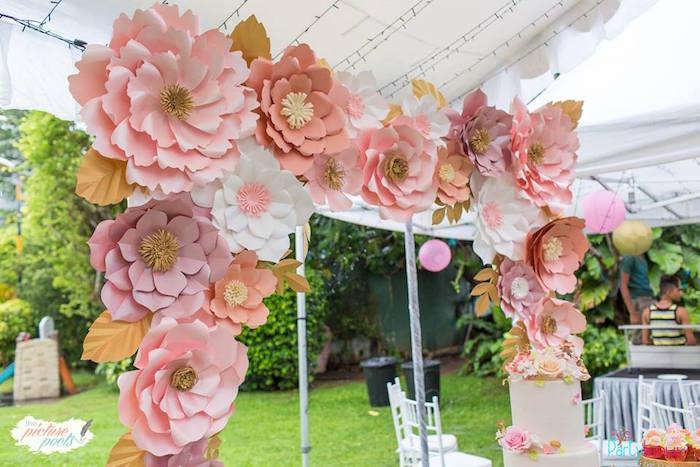 Paper Flower Arch from a Fairy Garden Birthday Party on Kara's Party Ideas | KarasPartyIdeas.com (21)