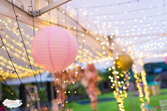 Paper Lanterns and Twinkle Lights from a Fairy Garden Birthday Party on Kara's Party Ideas | KarasPartyIdeas.com (13)