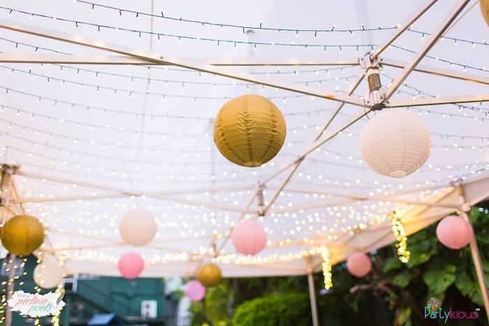 Twinkle Light Tentscape from a Fairy Garden Birthday Party on Kara's Party Ideas | KarasPartyIdeas.com (9)