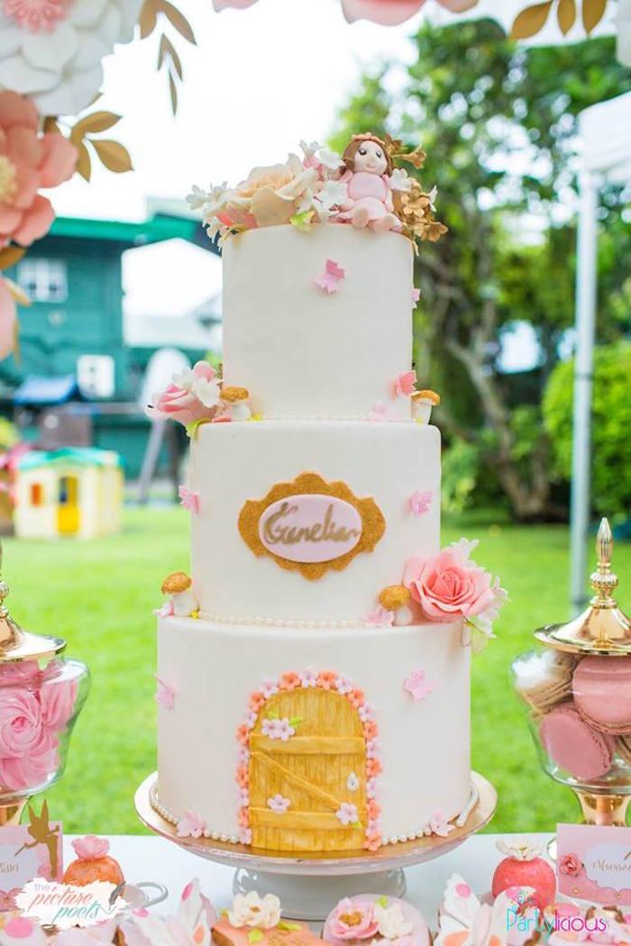 Cake from a Fairy Garden Birthday Party on Kara's Party Ideas | KarasPartyIdeas.com (31)