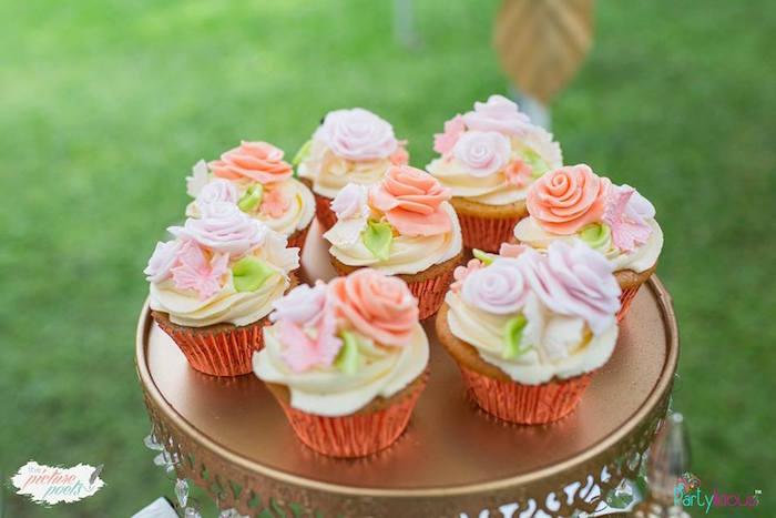 Flower Cupcakes from a Fairy Garden Birthday Party on Kara's Party Ideas | KarasPartyIdeas.com (30)