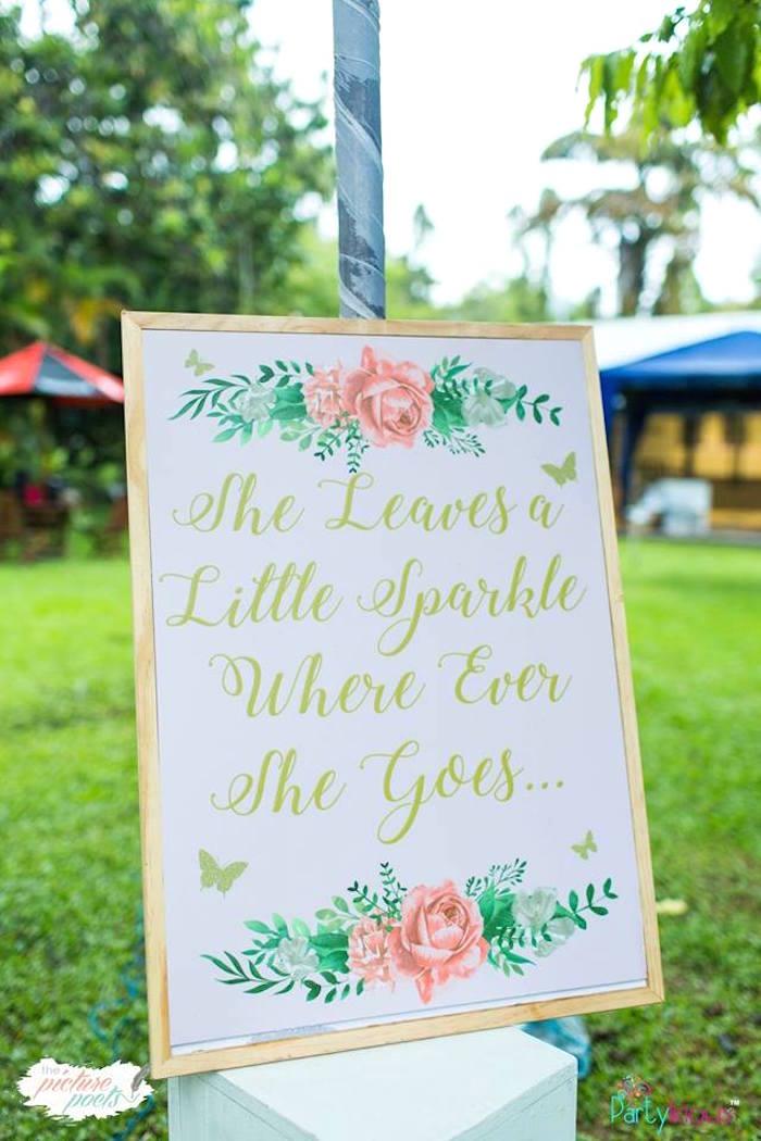 Little Sparkle Sign from a Fairy Garden Birthday Party on Kara's Party Ideas | KarasPartyIdeas.com (29)