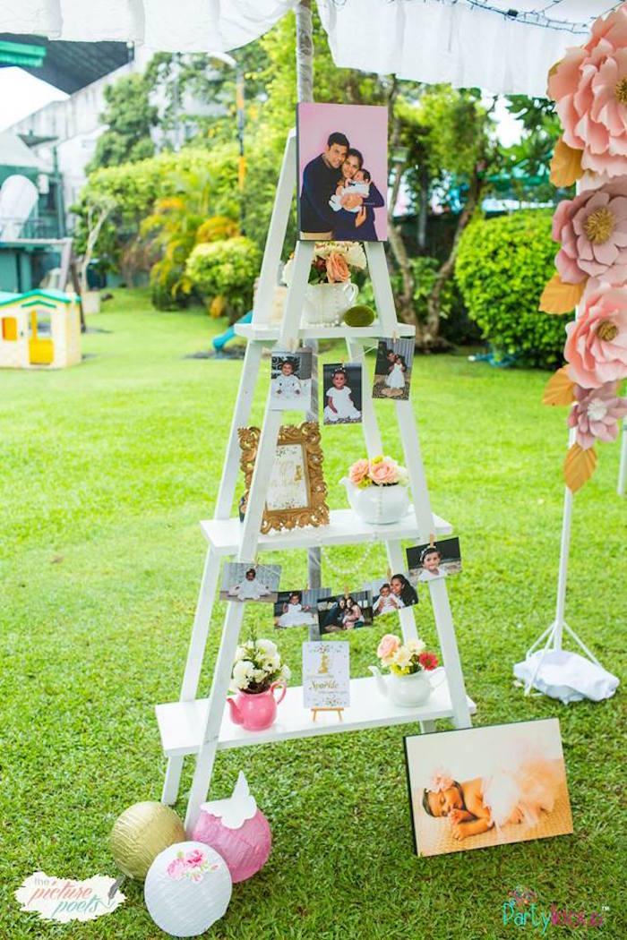 Ladder Shelf from a Fairy Garden Birthday Party on Kara's Party Ideas | KarasPartyIdeas.com (27)