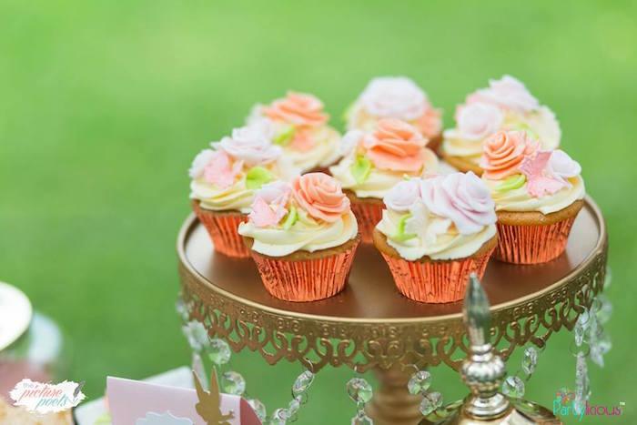 Rose Cupcakes from a Fairy Garden Birthday Party on Kara's Party Ideas | KarasPartyIdeas.com (26)