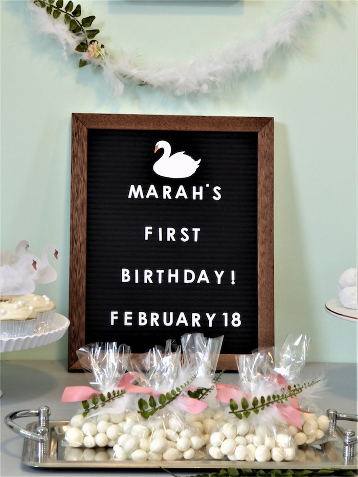 Swan Felt Letter Board & Party Favors from a Spring Swan Birthday Party on Kara's Party Ideas | KarasPartyIdeas.com