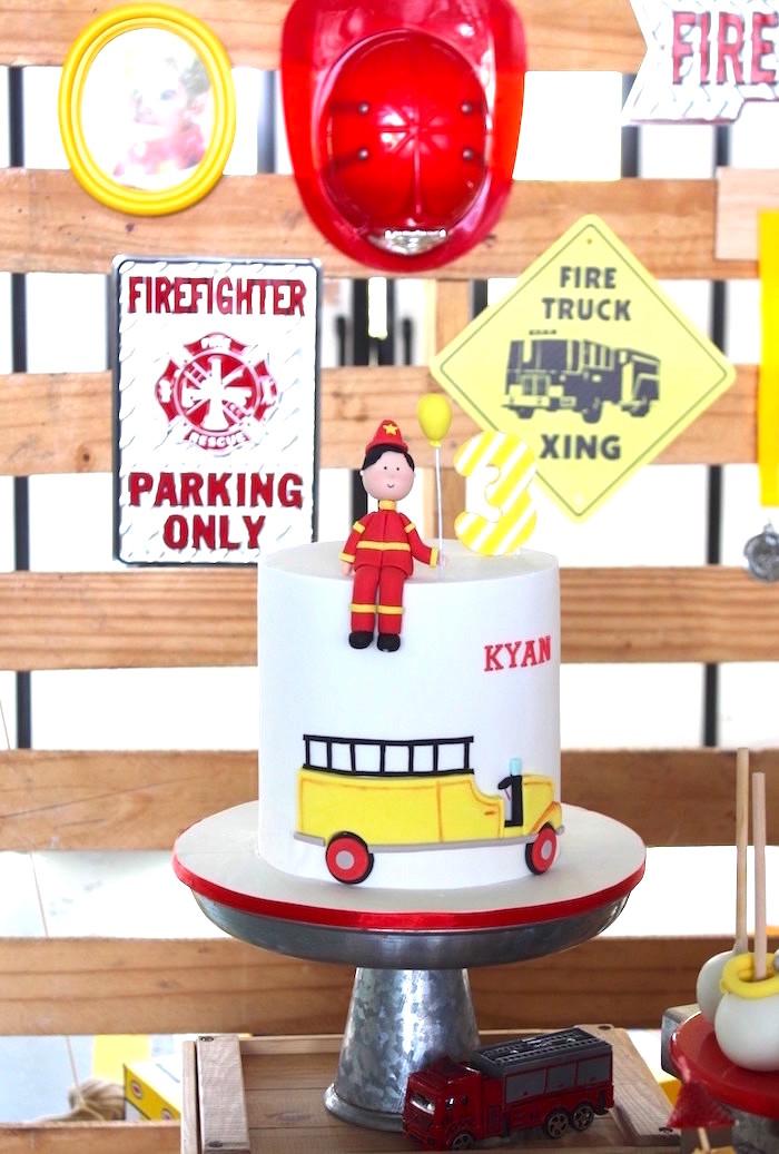 Fireman Cake from a Fireman Birthday Party on Kara's Party Ideas | KarasPartyIdeas.com (6)