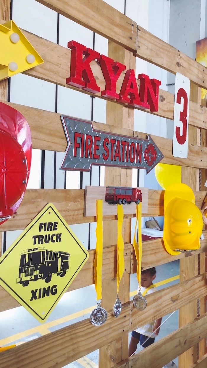 Pallet Board Wall Gallery Backdrop from a Fireman Birthday Party on Kara's Party Ideas | KarasPartyIdeas.com (3)