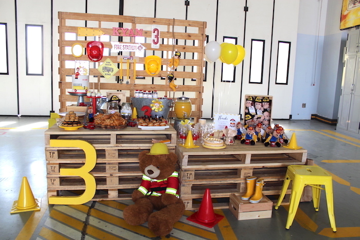 Pallet Board Fireman Party Table from a Fireman Birthday Party on Kara's Party Ideas | KarasPartyIdeas.com (17)