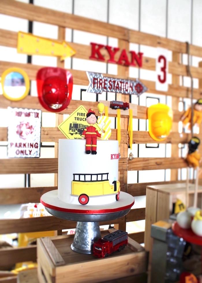 Fireman Cake from a Fireman Birthday Party on Kara's Party Ideas | KarasPartyIdeas.com (16)