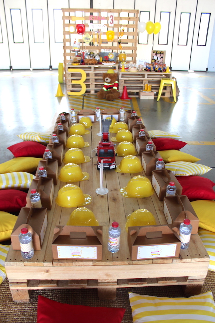 Fireman Guest Table from a Fireman Birthday Party on Kara's Party Ideas | KarasPartyIdeas.com (15)