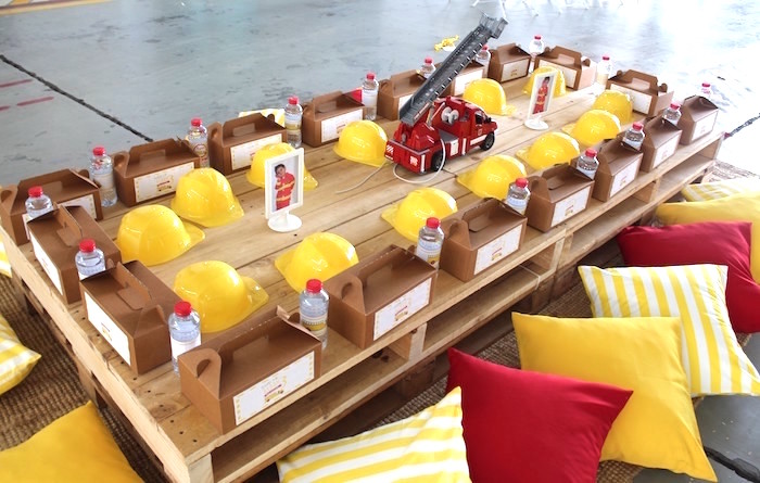 Fireman Pallet Board Guest Table from a Fireman Birthday Party on Kara's Party Ideas | KarasPartyIdeas.com (11)
