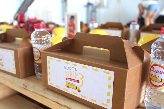 Fireman Gable Lunch Box from a Fireman Birthday Party on Kara's Party Ideas | KarasPartyIdeas.com (9)