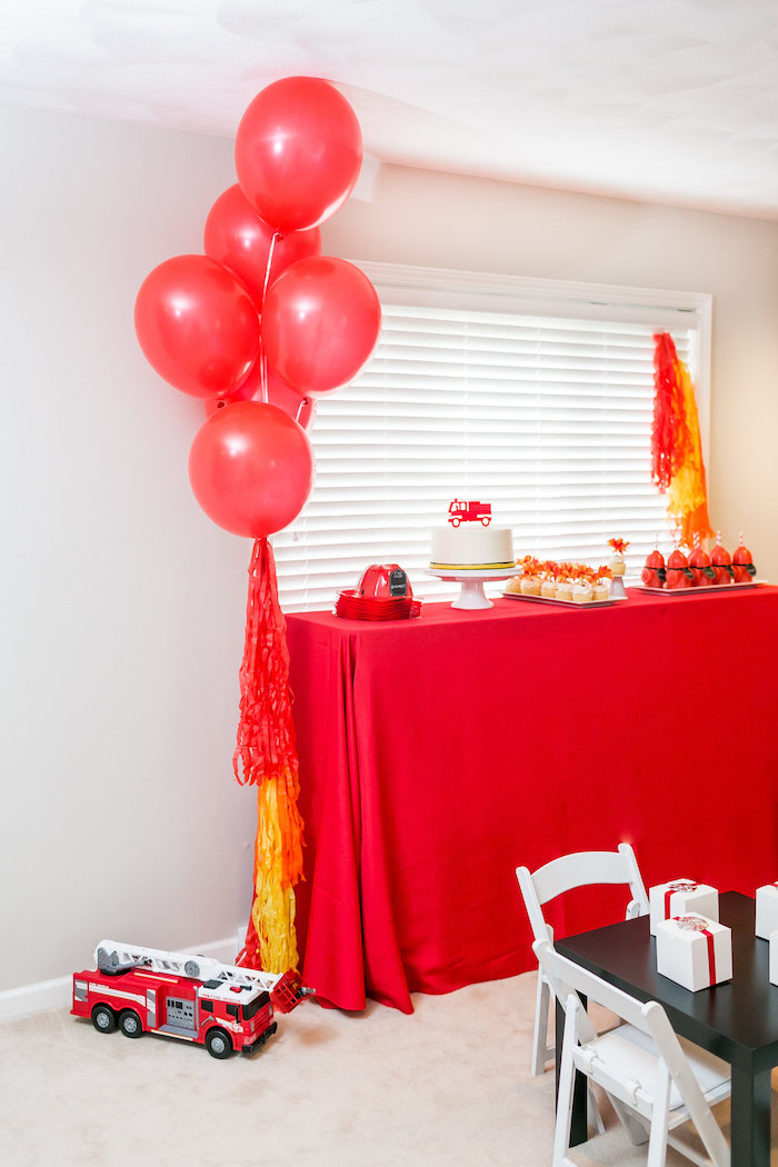 Firetruck Dessert Table from a Firetruck Birthday Party on Kara's Party Ideas | KarasPartyIdeas.com (16)