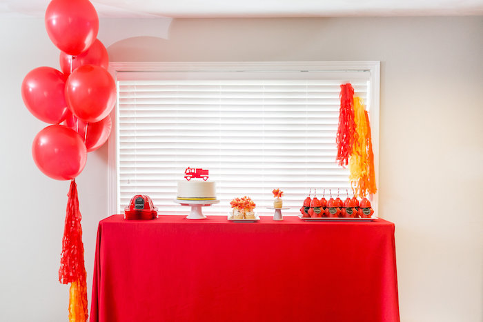 Firetruck Dessert Table from a Firetruck Birthday Party on Kara's Party Ideas | KarasPartyIdeas.com (15)