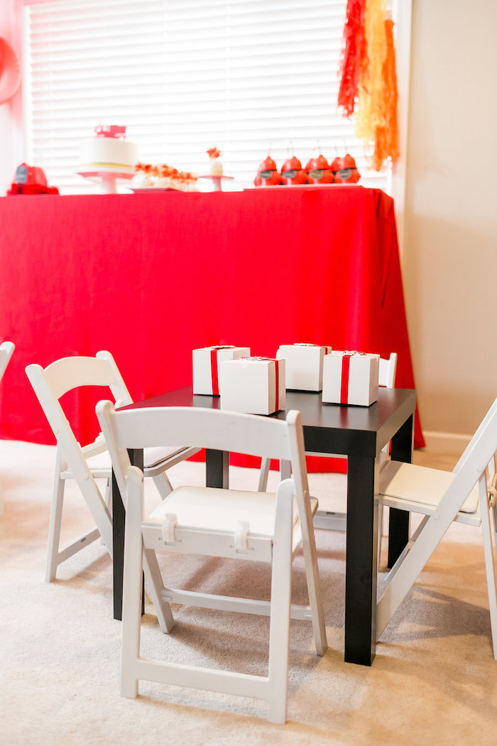 Guest Table from a Firetruck Birthday Party on Kara's Party Ideas | KarasPartyIdeas.com (14)